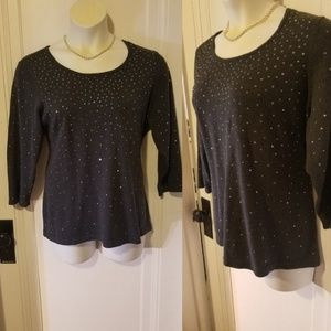 Gray Alfani Top with Beads